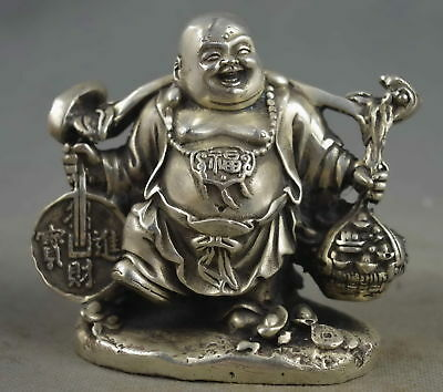 Collectable Handwork Old Miao Silver Carve Smile Buddha Hold Wealth Lucky Statue