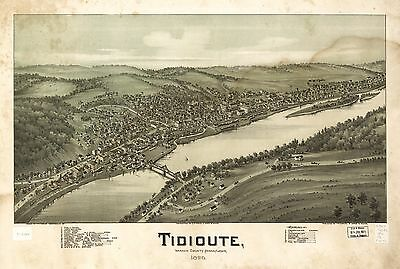 12x18 inch Reprint of American Cities Towns States Map Tidioute Pennsylvania
