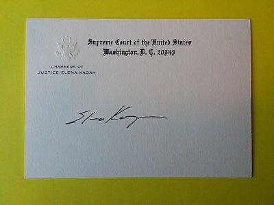 Elena Kagan Supreme Court Justice Signed Chamber Card