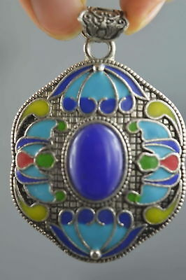 Collectable Handwork Decor Miao Silver Carve Colorful Flower Royal Noble Pendant