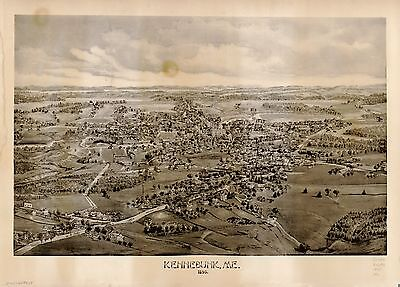 12x18 inch Reprint of American Cities Towns States Map Kennebunk Me