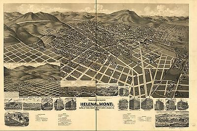 12x18 inch Reprint of American Cities Towns States Map Helena Montana
