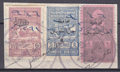 SYRIA DJABEL ALAOUITES 1 Ps Pink & 5 Ps REVENUE STAMPS ON PIECE