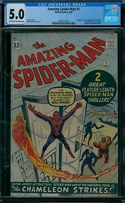 Amazing Spider-Man 1 CGC 5.0  ow/w pages!