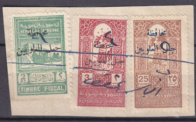 Syria Djabel Alaouites Old 2 , 3 & 25 P Revenue On Piece