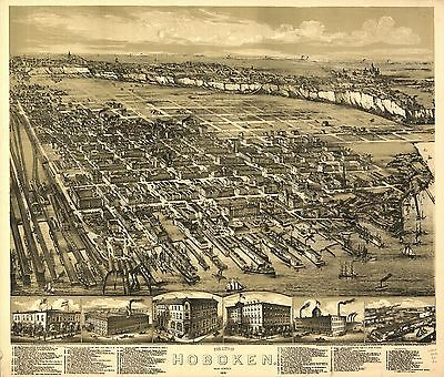 12x18 inch Reprint of American Cities Towns States Map Hoboken New Jersey