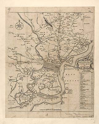 12x18 inch Reprint of American Cities Towns States Map Philadelphia