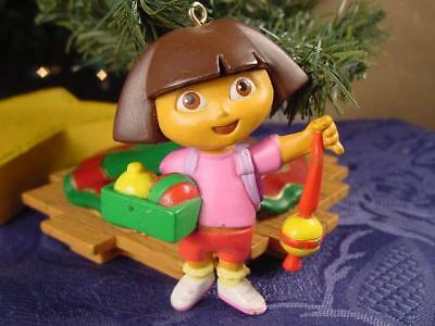 Dora the EXPLORER ready to decorate the CHRISTMAS TREE ~ cute ornament L@@K