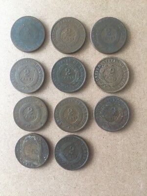 Lot of Two Cent Pieces... 2 Cent pieces.  Quantity of 11