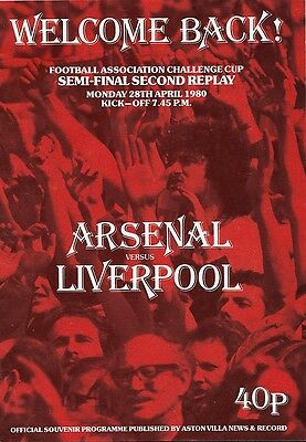 ARSENAL v LIVERPOOL FA CUP SEMI-FINAL 2ND REPLAY 1979/80