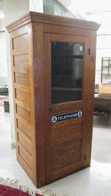 ANTIQUE OAK DOUBLE-WALL TELEPHONE BOOTH, attribute Lot 132