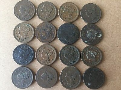 Lot of sixteen One Cent Piece Coins 1819-1854