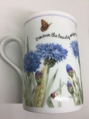 1997 MARJOLEIN BASTIN Butterfly Blue Thistle Flower Gift MUG Discover the Beauty