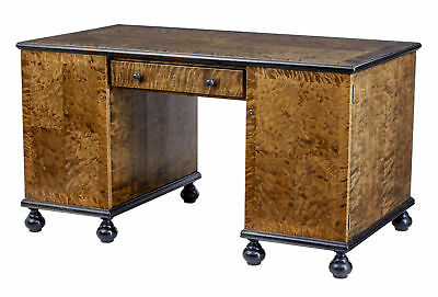 20Th Century Art Deco Scandinavian Birch Pedestal Desk