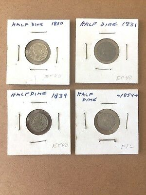 Seated Liberty Half Dimes.. Lot of Four.... 1830  1831  1839  1854