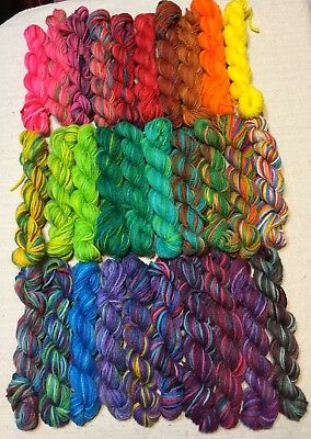 Sock Yarn Hanks,My Hand Dyed, Mini Skeins, Lot of 30, Mitered Square,  Brioche
