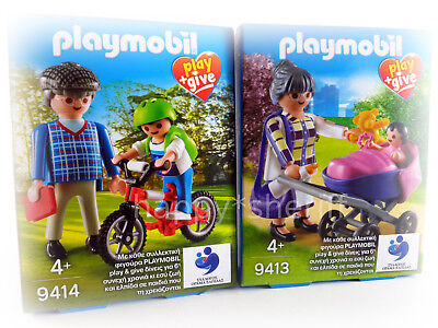 Playmobil Play+Give 9413 & 9414 Grandparents with Children Without Box Exclusive