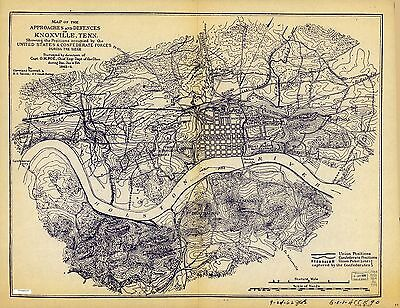 12x18 inch Reprint of American Military Map Fort Sanders Knoxville