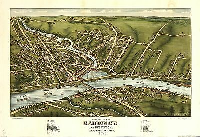 12x18 inch Reprint of American Cities Towns States Map Gardiner Pittson
