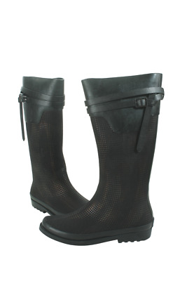 Pin Dot Rubber Rain Boots Women Ambiance-200-05 Henry Ferrera Black Bronze