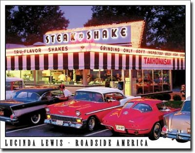 Drive In Diner Tin Metal Ad Sign Vintage Classic Autos Cars Pictures Garage Gift