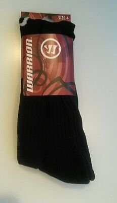 (soc528) Warrior Black football socks large adult size 6-8 BNIP