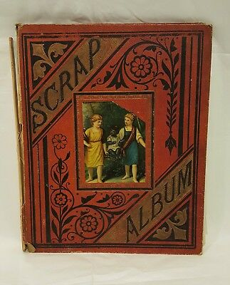 Antique Victorian 1800's Scrap Album Book Full of Ads Trade Cards Ayers Pharmacy