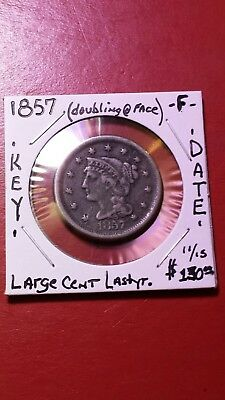 1857 Large Cent key date lil doubling on obverse face, brownish /gray in color