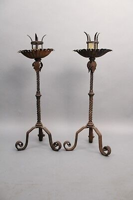 Pair of Antique 1920's Tall Candlesticks With Great Wrought Iron Detail (10778)