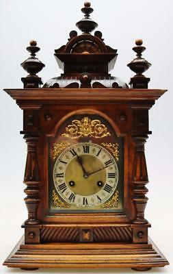 Mahogany 19th  C Architectural Bracket Clock Striking On Coiled Gong By Jungans