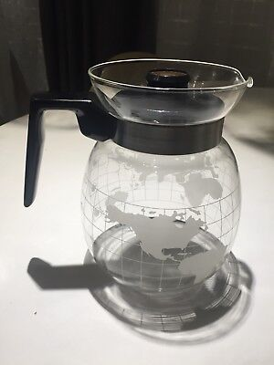 Vintage Nescafe Frosted Glass Globe World Coffee pot/Tea Pot/Carafe Rare nice