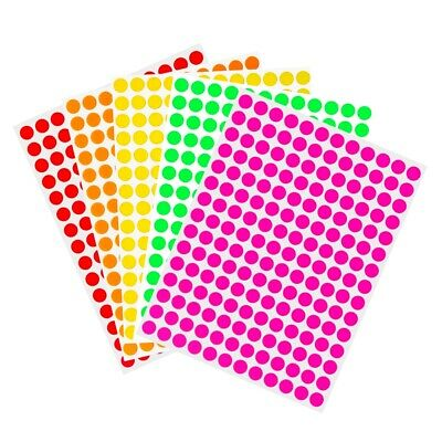 "Round Sticker Dots ~¼"" 8mm Neon Colored Coding Circle Stickers Marking Crafts"