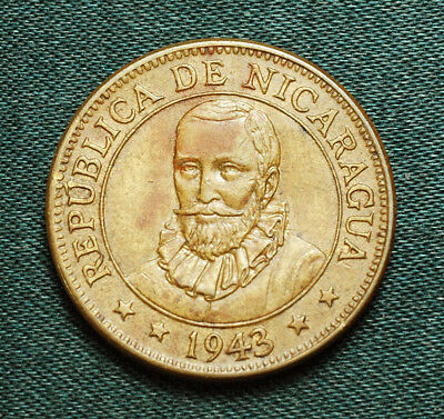 1943 Nicaragua 5 Centavo One year type Uncirculated Free S&H