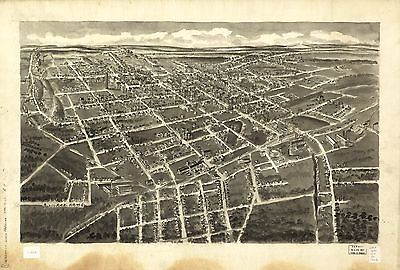 12x18 inch Reprint of America Cities Towns States Map Statesville North Carolina