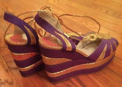 Terry De Havilland Vintage Wedge Glam Rock 60s 70s Sandal Heels 7.5