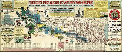 12x18 inch Reprint of Old Maps Map 1925 Touring Map Custer Battlefield Hiway