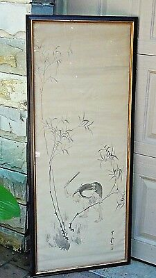 ANTIQUE 19c JAPANESE KAIDO KATEU INK ON SILK PAINTING ,ARTIST SIGN AND SEAL