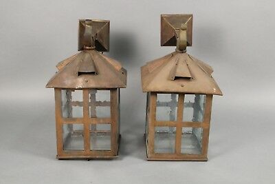 Pair of Rare Antique Large Copper Arts & Craft Wall Mounted Lanterns (10791)