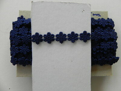 Card of Beautiful New Guipure Lace - Navy Daisies