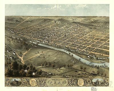 12x18 inch Reprint of American Cities Towns States Map Peru Miami Indiana