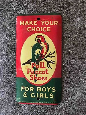Vintage Poll Parrot Boys & Girls Shoes Tin Advertising Door Push Press Sign