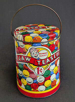 Lg. JAW TEASERS Tin Litho 1¢ BUBBLE GUM Pail, 1940s Color Store Display POP ART!