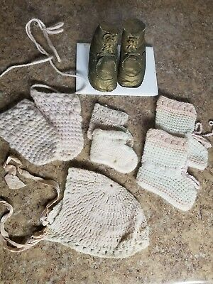 Antique Vintage Baby Girl or Doll Set Hat Booties Mittens Pink White Shoes Cute