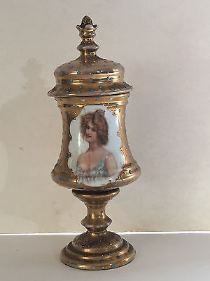 Antique Victoria Austria Portrait Urn Gold with Enamelled Paint