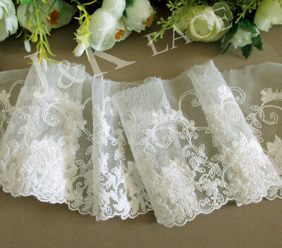 9.5 cm width Exquisite Creamy White Embroidery Mesh Lace Trim