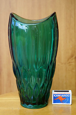 Vintage SKLO Union Vase green Czech. Vaclav Hanus made Rudolfova Hut glassworks