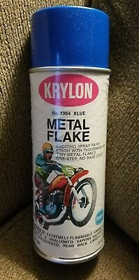 Vintage KRYLON Borden Motorcycle Spray Paint Metal Flake Blue Nos harley honda