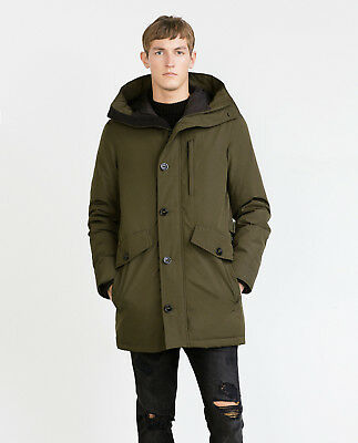 ccafe5116 NWTS ZARA MAN Insulated Heavy Quilted Lining Outerwear Puffer Hood Khaki  Coat M