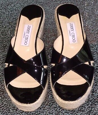 Jimmy Choo Black Wedge Slip on Sandals Shoes, New, Size 37.5