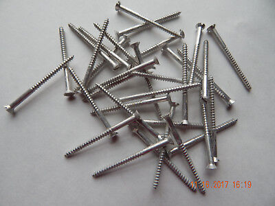 "ALUMINUM FLAT HEAD SLOTTED WOOD SCREW 6 x 2"" 25 PCS. NEW-NOS SOME DISCOLORATION"